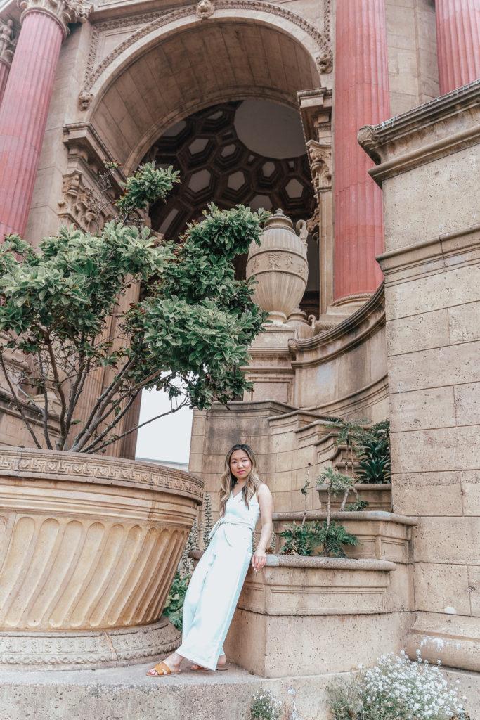 jenny tran fashion blogger lifestyle blogger white jumpsuit